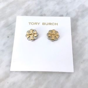 Tory Burch Logo Flower Two-Tone Stud Earrings
